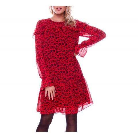 Colourful-Rebel-Vanessa-Leopard-Mini-Ruffle-Jurk-Dames